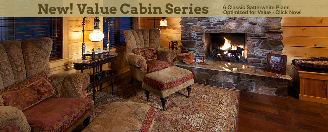 Log Cabin Homes in Winter - Value Cabin Series